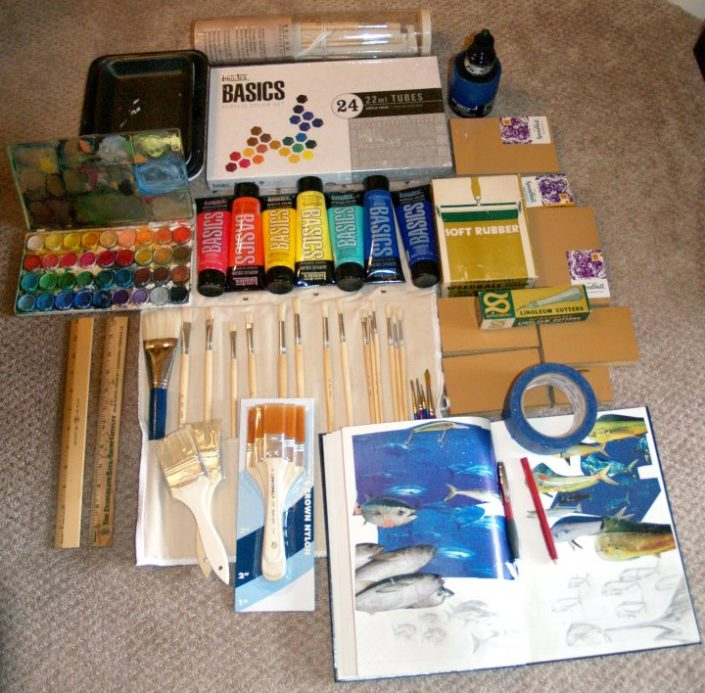 Painting supplies for mural. Liquitex Acrylic paints, brushes, watercolors, sketchbook and tape