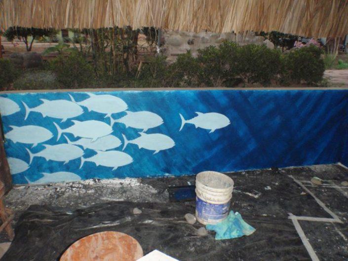 Stencil outlines of tuna school